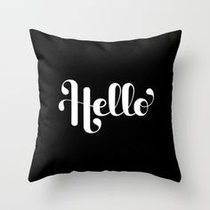 Hello Lettering Throw Pillow