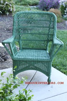 Dumpster rescued Wicker Chair. You have to see the before to appreciate the after!   REDOUXINTERIORS.COM FACEBOOK: REDOUX