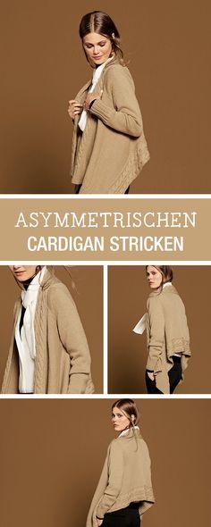 DIY-Anleitung: Asymmetrischen Cardigan stricken, Business Casual / DIY tutorial: knitting asymmetrical cardigan in business casual look via DaWanda.com