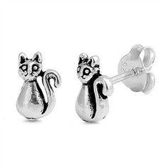 Sterling Silver 7mm Cat Stud Earrings
