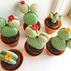 The most hallucinating macaroons - Cupcake - Macarons Cute Desserts, Delicious Desserts, Dessert Recipes, Yummy Food, Cactus Cupcakes, Cactus Cake, Guy Cupcakes, Cactus Food, Garden Cupcakes