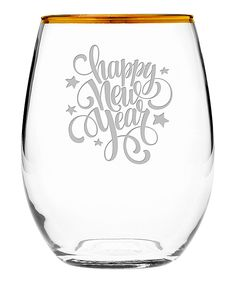 MADE IN USA Gold Rim 'Happy New Year' Stars Stemless Wineglass - Set of Four
