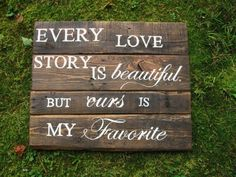 Reclaimed wood Rustic wedding decor Love Story, Wedding sign rustic w…