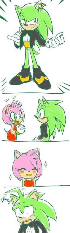 aw! You know, since i don't ship Sonamy, i've been thinking about who she'd be good with, and Manic was one of my first choices...Amic? Manamy? I dunno ^.^