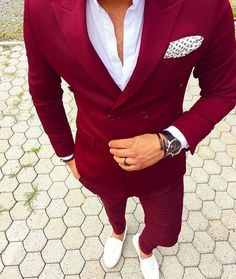 Red Double Breasted Mens Suits With Pants New Costume Homme Slim Fit Wedding Groom Casual Business Terno Masculino(Jacket+Pants) Mens Fashion Blazer, Suit Fashion, Fashion Night, Runway Fashion, Gentleman Fashion, True Gentleman, Fashion Sale, Gentleman Style, Fashion Trends