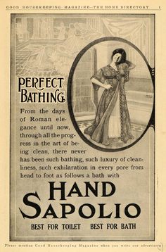 This is an original 1911 black and white print ad promoting the Hand Sapolio toilet soap. Shows woman in bathrobe.