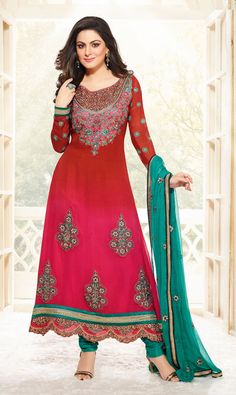 USD 83.57 Pakhi Red and Pink Long Party Wear Suit 40216