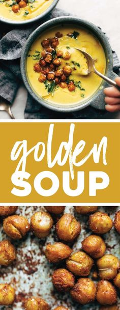 GOLDEN SOUP: cozy, bright, and healing with power-foods like turmeric, cauliflower, and cashews. Topped with crispy chickpeas. Super creamy and SO GOOD. vegan / gluten free. #soup #turmeric #lunch #chickpeas #vegan | pinchofyum.com