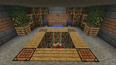 Awesome potions and enchanting room. Very nicely decorated. I like how the crafting tables are in the floor, it both saves space and looks nice.
