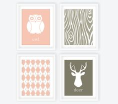 Woodland Nursery Art Prints Pink & Gray - Set of 4, Owl, Deer Head, Argyle, Wood Grain, Custom Nursery Decor, Forest Nursery - 8x10. $52.00, via Etsy. (could make these for much cheaper)