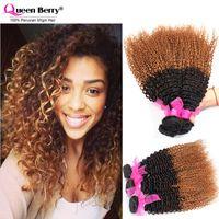 Peruvian Virgin Hair Kinky Curly 3pc 1b/4#/30# &1B# Kinky Curly Virgin Hair Grade 7A Human Hair Weave Cheap Peruvian Curly Hair