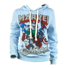 Womens Marvel Comics Varsity Pull Over Hoodie Blue ❤ liked on Polyvore featuring tops, hoodies, marvel comics, hoodie top, hooded pullover, sweatshirt hoodies and blue top