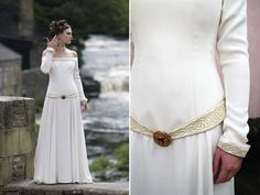 A Lindsay Fleming Irish Gown with subtle celtic knot accents