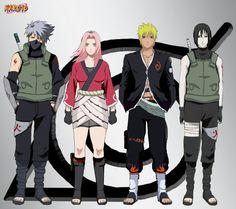Team 7 without Sasuke those are hokage anbu outfits (kakashi/sai).ofc naruto being the Team 7 Naruhina, Naruto Uzumaki, Anime Naruto, Boruto And Sarada, Naruto Oc, Madara Uchiha, Shikamaru, Kakashi Hatake, Narusaku