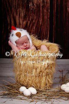 POPULAR Newborn 3m 6m Fuzzy Chick Chicken Hat Crochet Soft Animal Photo Prop Baby Clothes Boys Girls Farm HALLOWEEN CHRISTMAS. $34.95, via Etsy.