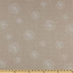 """Premier Prints Dandelion Cloud/Denton from @fabricdotcom  Screen printed on a medium/heavyweight rayon blend, this """"Denton"""" fabric has a texture similar to bark cloth and perfect for some window accents (draperies, valances, and curtains), toss pillows, duvet covers, tote bags and upholstery. *Use cold water and mild detergent (Woolite). Drying is NOT recommended - Air Dry Only - Do not Dry Clean. Colors include cloud white and beige."""