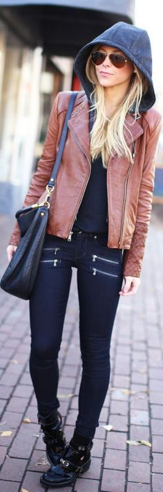 Edgy fall look   Zipped pants, brown leather jacket and hoodie