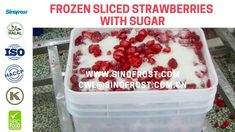 Sinofrost - Frozen Sliced Strawberries With Sugar - IQF Sliced Strawberr. Strawberry Slice, Frozen Strawberries, Ice Cube Trays, Sugar, Breakfast, Food, Morning Coffee, Eten, Ice Makers