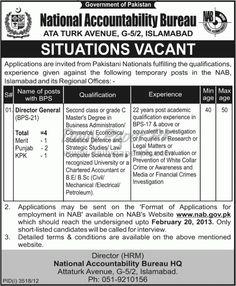 Jobs In National Accountability Bureau Islamabad  http://www.dailypaperpk.com/jobs/180887/jobs-national-accountability-bureau-islamabad