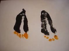 Penguin from kids feet.... so cute!