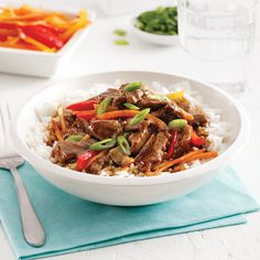 Sauté de boeuf mongolien - 5 ingredients 15 minutes Chop Suey, Japchae, Parfait, Menu, Food And Drink, Healthy Recipes, Healthy Food, Gluten Free, Favorite Recipes