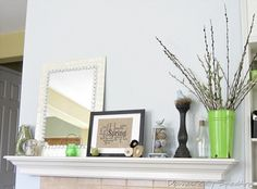 Gorgeous spring mantel at Domestically Speaking