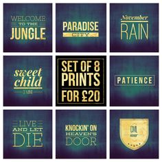 "Set of 8 - Guns N' Roses Song Title Prints - Square 8x8"" Each - Quote Rock Pop Music Lyric Typography - Poster Wall Art Gift Feature Decor #gunsnroses #axlerose #classicrock #slash #poster #welcometothejungle #paradisecity #novemberrain #sweetchildofmine #patience #liveandletdie #knockinonheavensdoor #civilwar #poster"