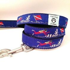 Scuba Diver Dog Leash with rust free stainless steel swivel clip.  Leash is 5 foot long with generous hand loop.