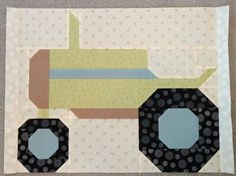 The Vintagey Farm Girl Tractor block! By Debbie Taylor, tutorial and pattern by Lori Holt!