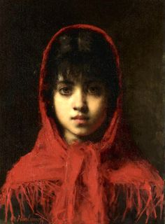 "Alexei Alexeivich Harlamoff, ""Young Girl in a Red Shawl"""