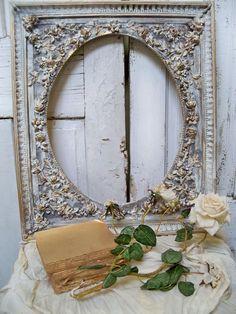Shabby chic rose covered frame