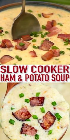 Slow Cooker Ham and Potato Soup is hearty, creamy, and very comforting! Warm-up during the cold days and cook it hassle-free with this easy crockpot recipe! recipe videos Slow Cooker Ham and Potato Soup - Sweet and Savory Meals Wallpaper Food, Baking Wallpaper, Ham And Potato Soup, Soup With Ham, Ham Bone Soup, Ham And Bean Soup, Ham Soup, Baked Potato Soup, Chili Relleno