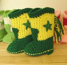 Western Cowboy Baby Booties Boots Crochet Green and Yellow with Green Stars by disliltreasures, $19.95. Makes a Great Baby Shower Gift! Some Say They Were The Hit of The Party!