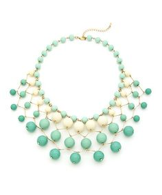 All About Bauble Necklace - Mint and Ivory $19.50
