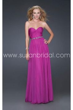 Gorgeous Rose red A line Sweetheart Empire Waist Full-length Chiffon Prom Dress