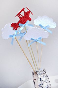 Airplane Party Decoration - ships in 1-3 business days - Time Flies Wands - Airplane and Clouds Centerpiece - 5 COUNT