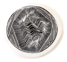 Illustrated ceramic cheese plate - gorgeous black and white detail. $40