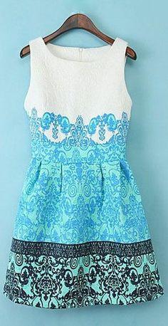 Floral Printing Sleeveless Dress ♥