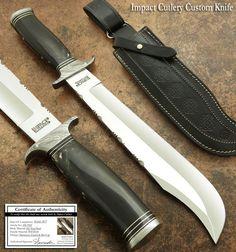 IMPACT CUTLERY RARE CUSTOM D2 BOWIE KNIFE BULL HORN DAMASCUS GUARD