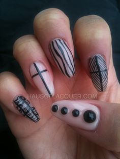 Todays Daily Nail Art is this black on nudie design by hausoflaquer.
