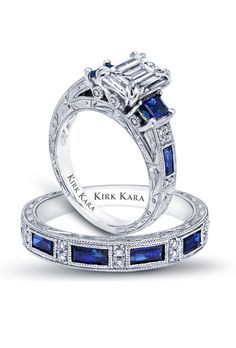 Blue sapphire engagement ring by Kirk Kara /Charlotte collection / Art Deco Engagement Ring / Detailed engagement ring / Hand engraved engagement ring / three stone ring