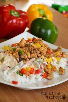 Potrawka z kurczaka a'la Gyros - KulinarnePrzeboje.pl Fried Rice, Main Dishes, Recipies, Food And Drink, Turkey, Tasty, Lunch, Chicken, Dinner