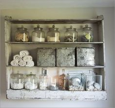 Open bathroom shelving.  This would look great in a modern french country inspired bathroom.