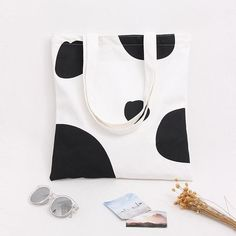 Cute Cartoon Milk Cow Lovely Canvas Shoulder Bags Handbags