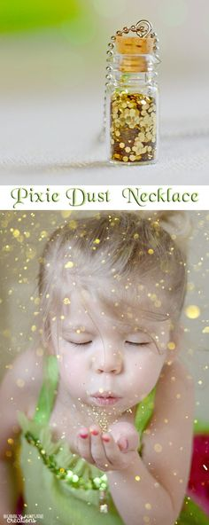 Tinker Bell Pixie Dust Necklace!  Fun idea for a little girls party and fun glitter photo shoot!