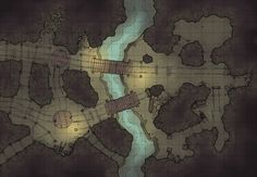 The Damp Mine, a battle map for D&D / Dungeons & Dragons, Pathfinder, Warhammer and other table top RPGs. Tags: battle map, bridge, cave, dungeon, mine, river, spooky, tunnel, underdark, underground