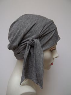 Hat Slouch Cap Gray Bamboo Jersey Light Chemo Hat by NinisNiche, $45.00