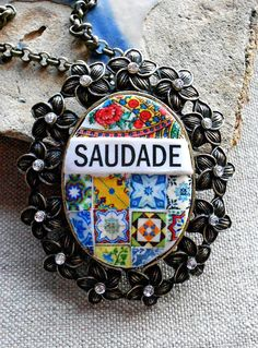 'Saudade', a portuguese word (Portugal Antique Azulejo Tile Replica Majolica  Necklace  by Atrio,)