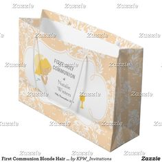 First Communion Blonde Hair Girl Thank You Large Gift Bag
