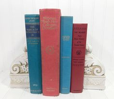 Red and Blue Decorative Book Set. Shelf decor Mantel Decor Shelf decorating mantel decorating. Buy On Etsy Now